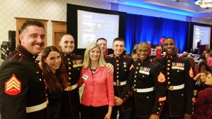 Vicki with Marines at SIC Conservationist Dinner 040216